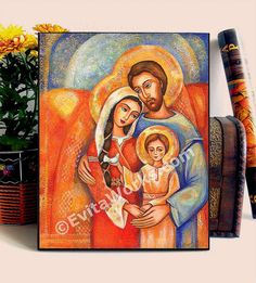 Icon Painting Holy Family Christian Religious Folk Art Icon