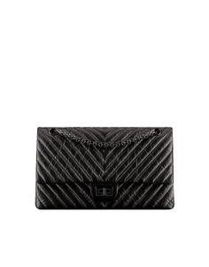 Large 2.55 handbag, aged calfskin & black metal-black - CHANEL