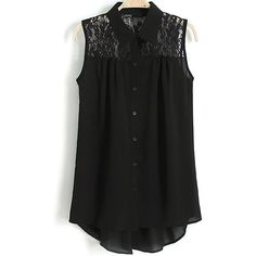 SheIn(sheinside) Black Lapel Sleeveless Contrast Lace Blouse ($17) ❤ liked on Polyvore featuring tops, blouses, shirts, black, black lace top, lace blouse, black sleeveless shirt, black collared shirt and short sleeve shirts