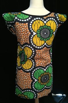 Giant Flower Tunic  Colourful African Wax Print  by ChicNtoma