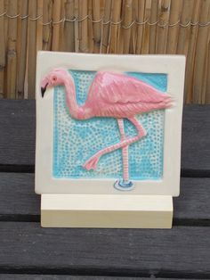 Hand Made Tile Pink Flamingo by CindySearles on Etsy, $24.00