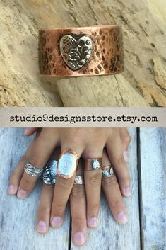 Copper ring Adjustable ring Silver heart ring Rings for women Thumb ring Hammered ring Birthday gift for her Boho ring Statement ring Gold Diamond Wedding Band, Diamond Bands, Thing 1, Bohemian Rings, Thumb Rings, Alternative Engagement Rings, Morganite Ring, Birthday Gifts For Her, White Gold Diamonds