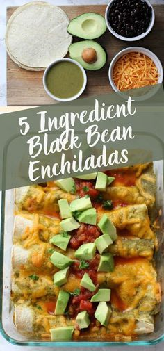 These 5 ingredient black bean enchiladas only take a few minutes to assemble so they're a perfect vegetarian weeknight recipe! If you need a tasty meatless dinner this is a fast and easy thing to make! Vegetarian Sandwich Recipes, Easy Salad Recipes, Vegetarian Recipes Dinner, Lunch Recipes, Easy Dinner Recipes, Mexican Food Recipes, Vegetarian Mexican, Supper Recipes, Delicious Recipes