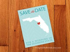 Florida Save the Date for a Wedding in the Sunshine State Postcard - Modern, Teal Chevron Background - Aqua & Red Unique Save The Dates, Save The Date Photos, Save The Date Postcards, Save The Date Cards, Beach Wedding Aisles, Beach Wedding Colors, Aqua Wedding, Dream Wedding, Heart Location