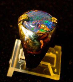 Gold Men's Opal ring.Genuine Australian Opal by AmyKJewels on Etsy