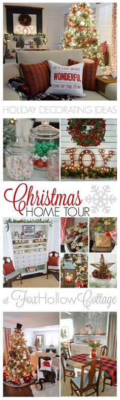Christmastime at Fox Hollow Cottage. Visit this cottage home, decorated in traditional Christmas red with splashes of vintage & DIY accompanied by touches of cozy plaid! Find these Holiday Decorating Ideas and More in the Cherished Christmas Home T Merry Little Christmas, Plaid Christmas, Christmas Holidays, Christmas Crafts, Christmas Decorations, Holiday Decorating, Decorating Ideas, Christmas Ideas, Tree Decorations