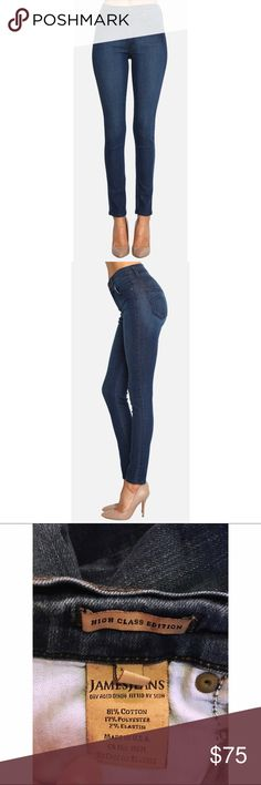 James Jeans High Class Skinny in Jay Blue Gently worn, but the perfect pair of every day skinnies with a little stretch. Just selling because they do not fit me anymore.  ----- The jeans that will accompany you through all your upcoming adventures have arrived! With a higher rise and our best selling James Twiggy body, the High Class Skinny in Jay Blue utilizes ultra-soft and gummy fabrication that will have you feeling like you're wearing your favorite yoga pants while you explore…
