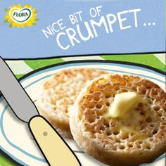 We all love crumpet, especially when it's dripping with lovely melty Flora. Crumpets, Love Is All, Oatmeal, Flora, Breakfast, The Oatmeal, Morning Coffee, Buns, Rolled Oats