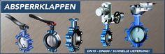 Absperrklappen mit Hebel oder Getriebe. Die Absperrklappen können mit EPDM, NBR oder FPM Dichtung ausgestattet werden. Anschlussgrößen der Absperrklappen sind DN15 - DN600. www.nieruf-industriearmaturen.de