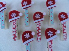 Santa Hat Clothespins . . . these are so cute . . .