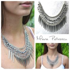 New silver handmade statement necklace