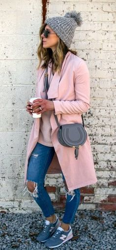summer outfits Grey Beanie + Pink Coat + Ripped Skinny Jeans