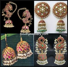 Antuque Indian jewellery-Cabochon rubies and pearl Jhumkas