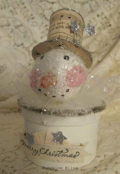 Snowman Holiday Box Creme and Silver. $25.00, via Etsy.