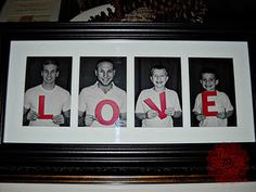 What a fun idea for a valentine's day gift - or for grandparents any time!... I will have to do this as my son gets older. Definitely holding on to the L-♥-V-E letter I painted for this year's Valentine's Day photo.