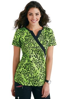 Beyond Scrubs Green Tiger crossover print scrub top | #scrubsandbeyond #nurses #scrubs
