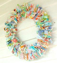 Rustic decorative wall Rag Wreath lilly pulitzer fabrics