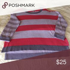 Striped Banana Republic Sweater This soft cotton/polyester sweater is easy to wear. The back is longer than the front. The block stripe is a coral color. Ready to wear! Banana Republic Sweaters Crew & Scoop Necks
