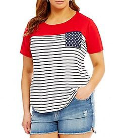 Moa Moa Plus Americana Striped Flag Pocket Tee