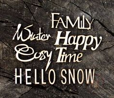 8 Pieces: Family, Happy, Time, Snow, Hello, Cosy, Winter, Together