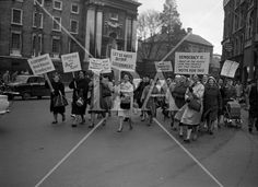 See more photos like this at http://www.irishphotoarchive.ie/ Housewives march in protest at the introduction of Turnover Tax, a new sales tax. .14.11.1963 #vintage #oldphotos #blackandwhite #film #artistic #finearts #ireland #irishhistory #historyphoto #history