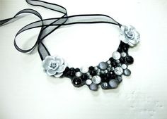 LOVE! SALE  bib necklace with black ribbon silver roses by JoyKatharine, $9.50