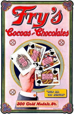 FOOD: An eye-catching colourful Fry's ad for Cocoa and Chocolate from 1908. #food #cocoa #chocolate #Edwardian #ad #vintage #illustration #cards