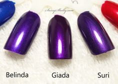 Zoya Nail Polish comparison  purple shimmers Belinda, Giada, Suri -  No Dupes!   |  Sassy Shelly