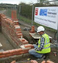 Dave France at work on Bridge abutments at Mill Green