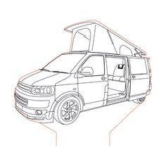 VW Transporter Campervan illusion lamp plan vector file for CNC - Vw Camper, Vw Bus, Camper Drawing, Transformers Drawing, Vw Conversions, Campervan, Vector File, Line Drawing, Pencil Drawings