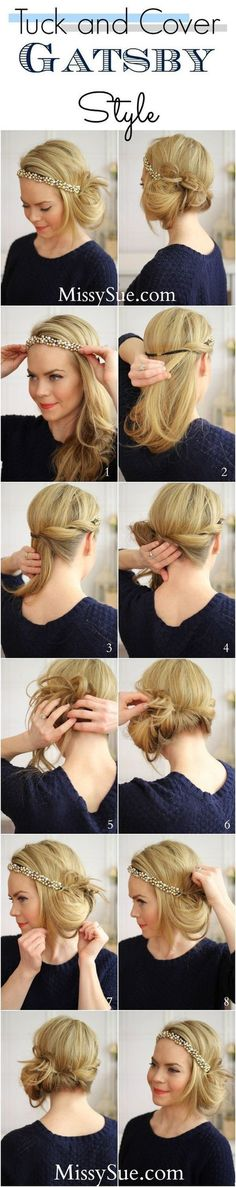 tuck and cover gatsby hair tutorial bmodish Up Hairstyles, Pretty Hairstyles, Wedding Hairstyles, Gatsby Hairstyles For Long Hair, Flapper Hairstyles, Vintage Hairstyles, Simple Hairstyles, Modern Hairstyles, Hairstyles With Headbands
