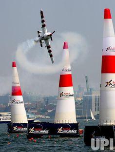 Red Bull Air Race World Championship held in Jersey City, NJ, pilot Paul Bonhomme
