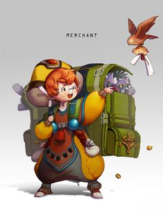 Character Concept Art - Merchant by Byam on DeviantArt Character Sketches, Game Character Design, Character Drawing, Character Design Inspiration, Character Concept, Concept Art, Game Design, Cute Characters, Fantasy Characters