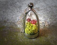 Terrarium Moss Toadstool Dome Necklace