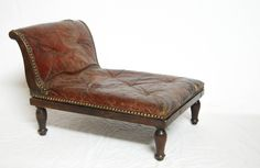 George III Period Mahogany & Buttoned Leather Gout Stool