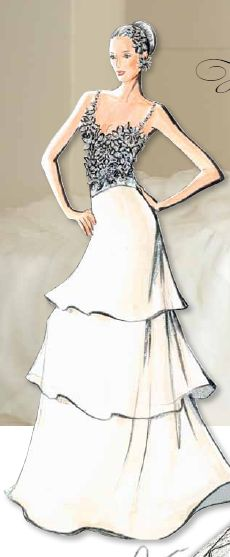 Oleg Cassini wedding gown design sketch featuring a fitted embellished bodice and a tiered ruffled skirt.