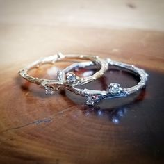 Twig Diamond Wedding Bands in 14K Yellow Gold & 14K White Gold 🌲❤💎
