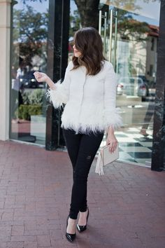 Shein Fur Tweed Jacket Holiday Outfit Idea
