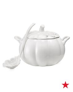 Martha Stewart Collection harvest figural pumpkin soup tureen with ladle — take your Fall dinner parties up a notch with elegantly festive serveware