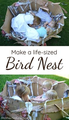 Gorgeous life-sized bird nest using recycled materials. Try it!