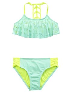 Palm Tree Flounce Bikini Swimsuit