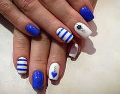 Beautiful nails 2016, Blue gel nail polish, Blue gel polish for nails, Heart nail designs, Manicure by summer dress, Nail art stripes, Nail polish for blue dress, Nails with lines