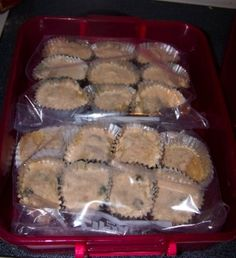 Freezer muffins ~ make batter, pour in muffin tin, then freeze.  Bake fresh in the morning.