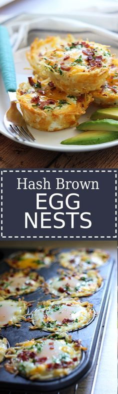 Hash Brown Egg Nests with Avocado Shredded hash browns and cheese nests baked until crispy topped with a baked eggs, crumbled bacon and more cheese. Served with chilled avocado slices. Breakfast Dishes, Breakfast Time, Breakfast Recipes, Breakfast Casserole, Breakfast Muffins, Breakfast Hash, Breakfast Ideas With Eggs, Avocado Breakfast, Mexican Breakfast