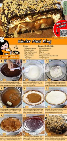 Kinder Maxi King recipe with video. Detailed steps on how to prepare this easy and simple Kinder Maxi King recipe! Dog Food Recipes, Cookie Recipes, Dessert Recipes, King Torta, Food Items, Food Porn, Food And Drink, Yummy Food, Maxi King