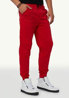 Red Terry Jogger Sweats