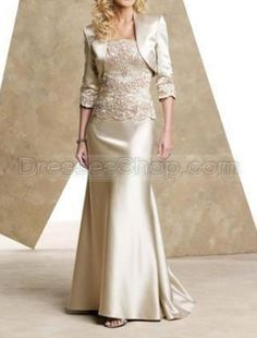 Sheath Half Sleeves Sweep Train Applique Beading Chic Satin Mother of the Bride Dress
