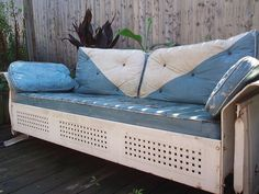 1940 S Antique Vintage Art Deco Metal Glider Sofa W Orig Cushions In Good Shape Gliders And