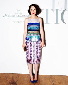 Michelle Dockery wears Mary Katrantzou Resort 2014 Effloresence Lante Dress at #NYFW