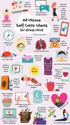 ¿Has probado alguna de estas ideas de autocuidado en casa para aliviar el estrés? Haga clic en el pin para ver mi lista completa de 60 ideas. # selfcare #stressrelief #athome #selfcareideas